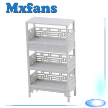 Mxfans Dollhouse Miniatures Bedroom Furniture Shelf 1:25 Unpainted White(China)