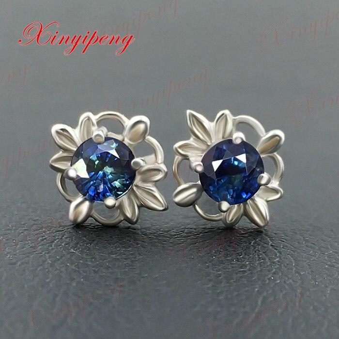 Or blanc 18 k avec 100% boucles d'oreilles en saphir naturel couleur bleu vert de feu bijoux fins contractés