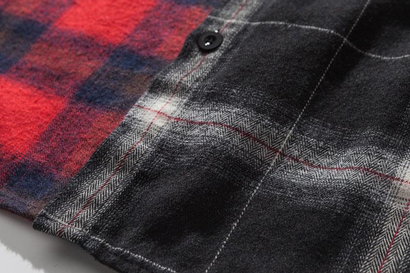 Vintage Contrast Color Block Plaid Shirt 5
