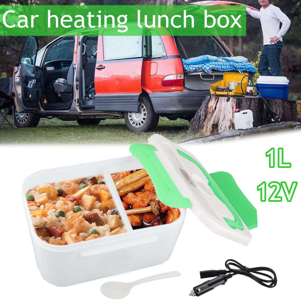 12V 1L Electric Heating Lunch Box Bento Food Insulation Heater Removable Container Warmer with Spoon multi function electric lunch box stainless steel tank household pluggable electric heating insulation lunch box