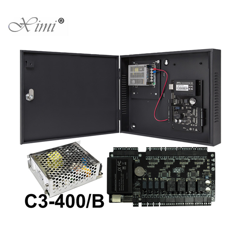 TCP/IP Access Control Panel Access Control Board ZK C3 400 4 Doors Access Control System With Power Supply Box Battery Function