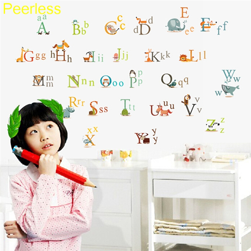 Hard-Working Peerless Kids 60cm X 90cm 26 Letters A-z Alphabet&animals English Vinyl Mural Stationary Stickers Decals Discounts Sale Office & School Supplies