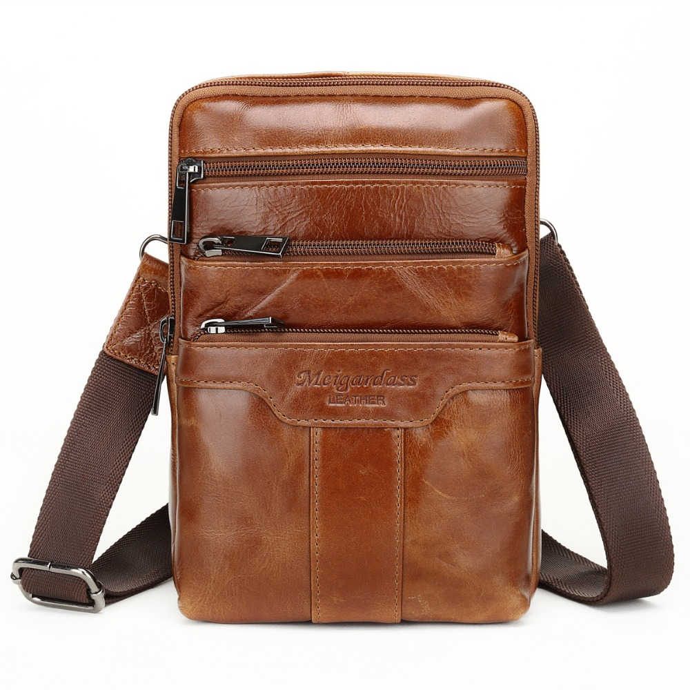цена на MEIGARDASS Genuine Leather Small Messenger Bags Vintage Cowhide Travel Casual Shoulder bags for Men Ipad Crossbody Bag Handbags