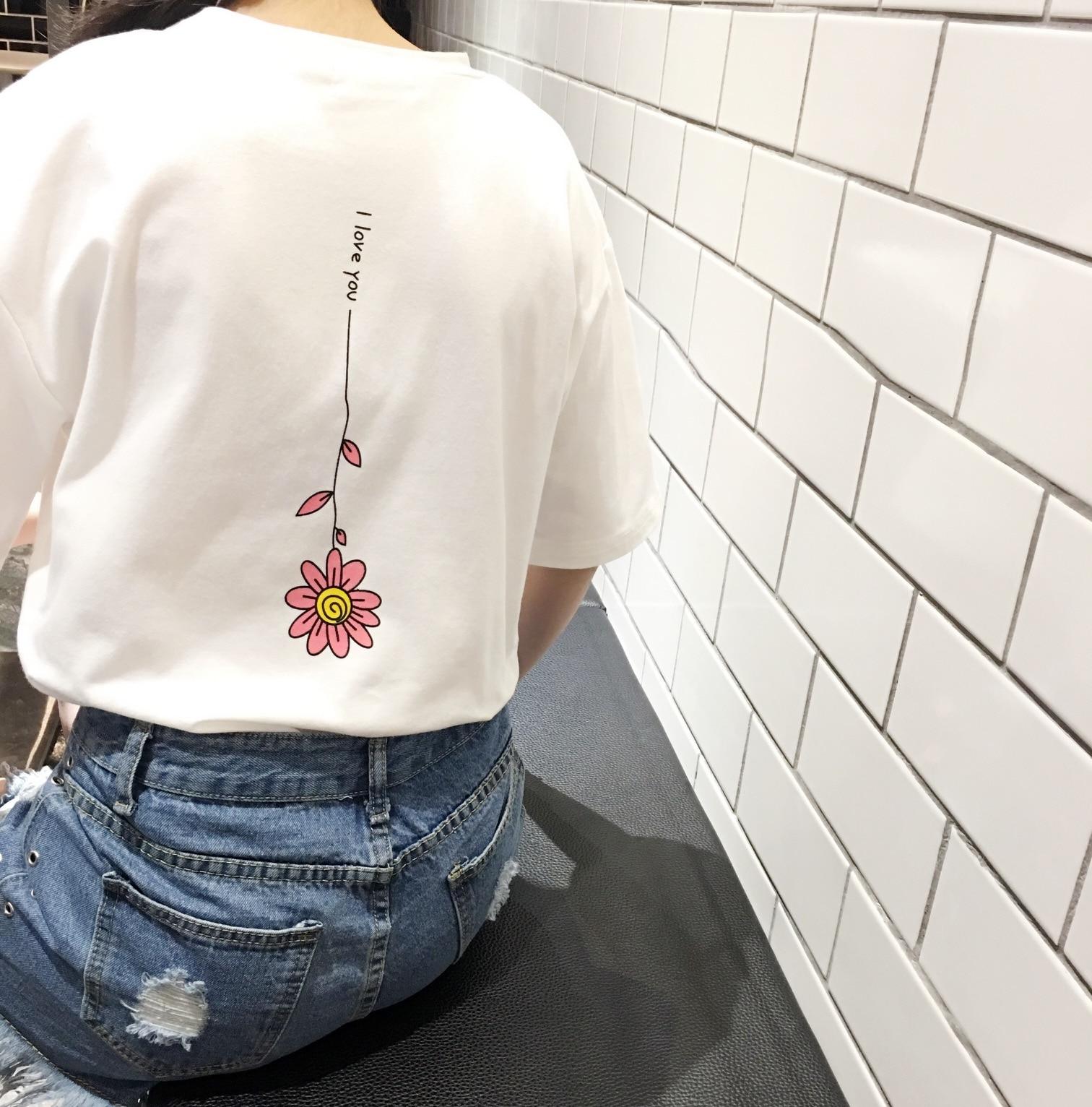2017 Sommer Neue Mode Baumwolle Mond Gedruckt Beiläufige Lose Kurzarm Weibliche T-shirts Elegant Im Geruch