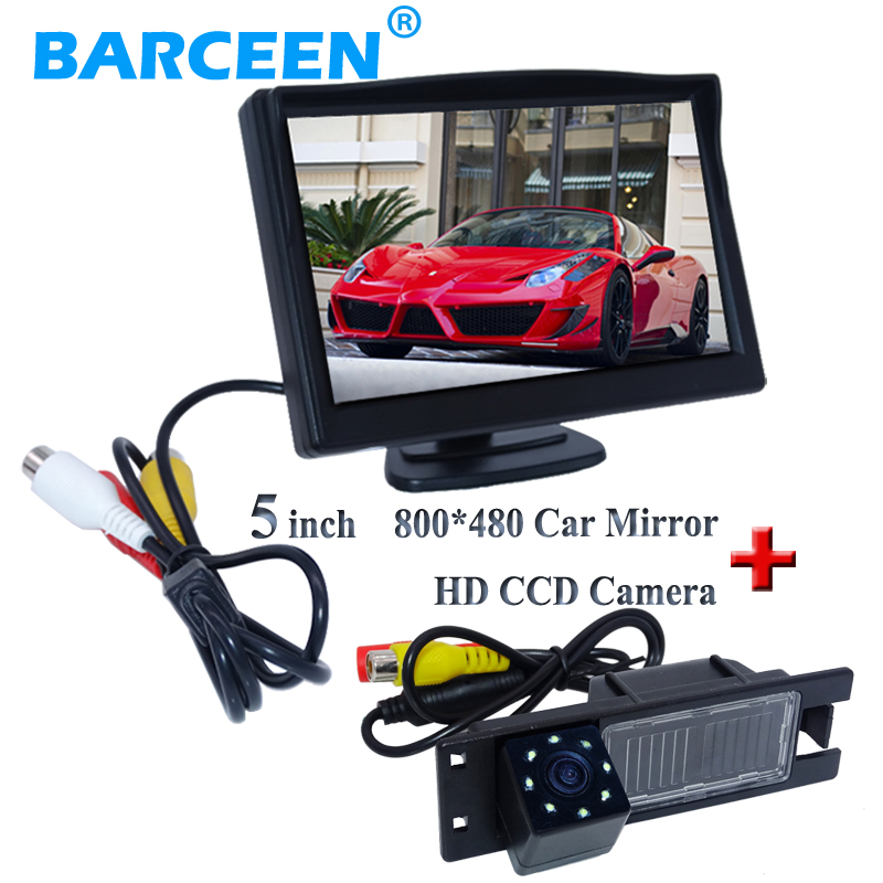 цена на Black shell hd lcd color car monitor 5 inch +8 lamp car rear camera for Opel Astra H /Corsa D/ Meriva A /Vectra C/Zafira B/FIAT