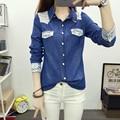 2016 fashion Korean  New arrival hot sale  lace  long-sleeved denim shirt female loose slim casual blouse plus size 503C 30