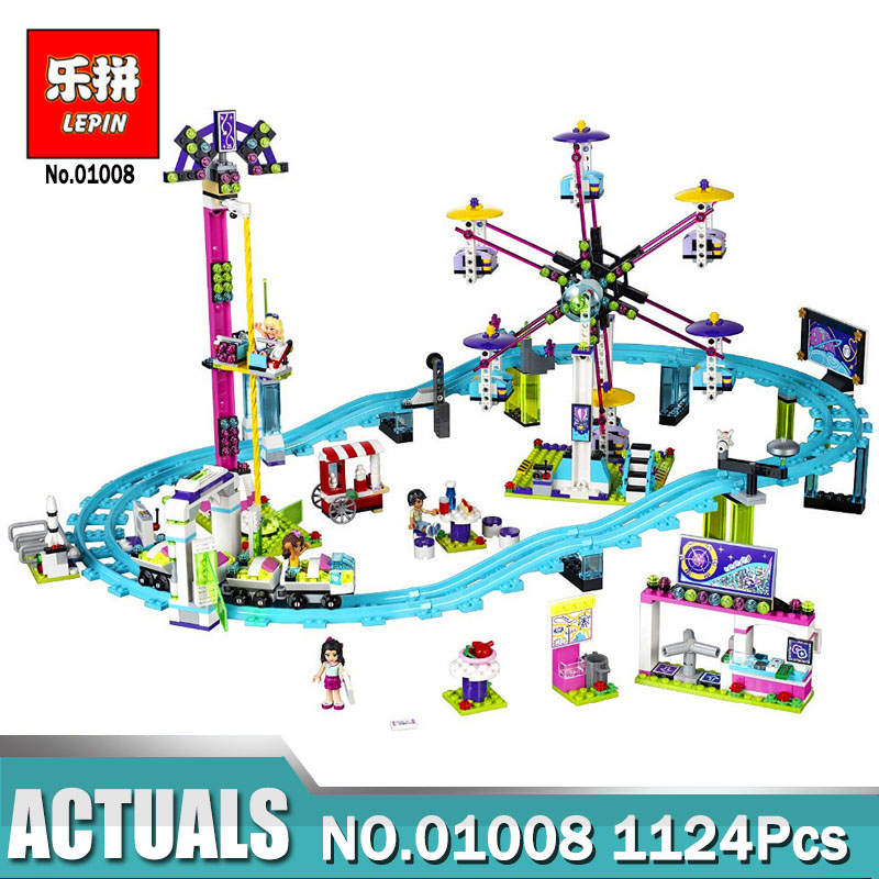 Compatible with Legoing Friends 41130 model Lepin 01008 Amusement Park Roller Coaster building blocks toys for children lepin building blocks model 01013 compatible legoing friends summer swimming pool 41313 educational toys for children