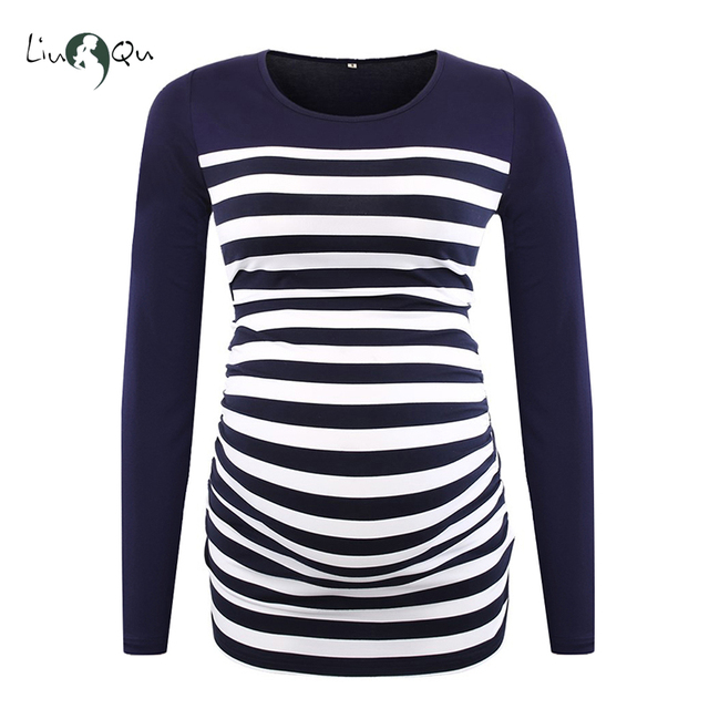 Long Sleeve Pregnancy Blouse Side Ruched Maternity Clothes Striped Patchwork Mama Top O neck Pregnant Clothes for Women Tops 4