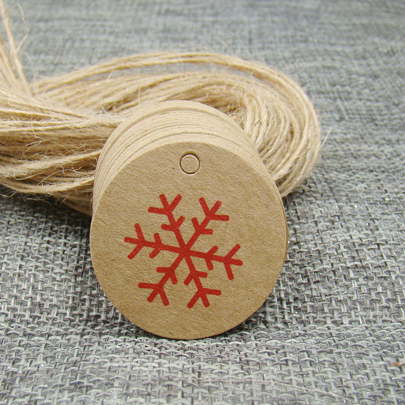 3*3cm Round Kraft Paper Snowflake Printed Gift Tag 100pcs +100pcs Hemp String For Christmas Products Idsplay Decoration