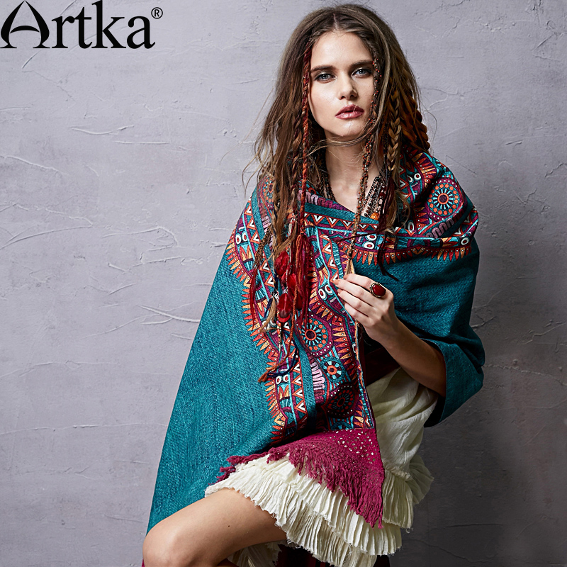 Artka 2018 New Spring Ladies Retro National Hollow Print Cotton and Linen Scarf Shawl PA14052C