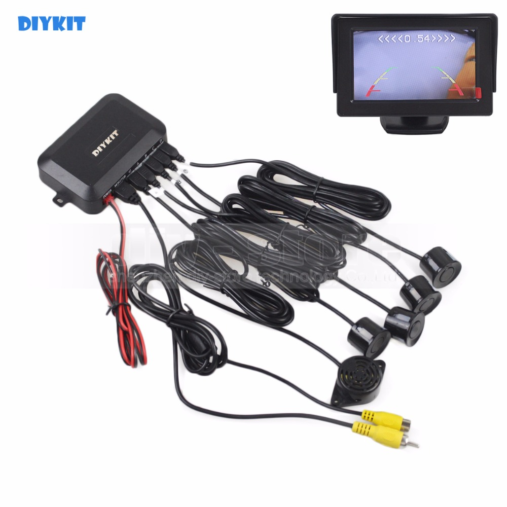 DIYKIT Car Reverse Video Parking Radar 4 Sensor Rear View Backup Security System Sound Buzzer Alert