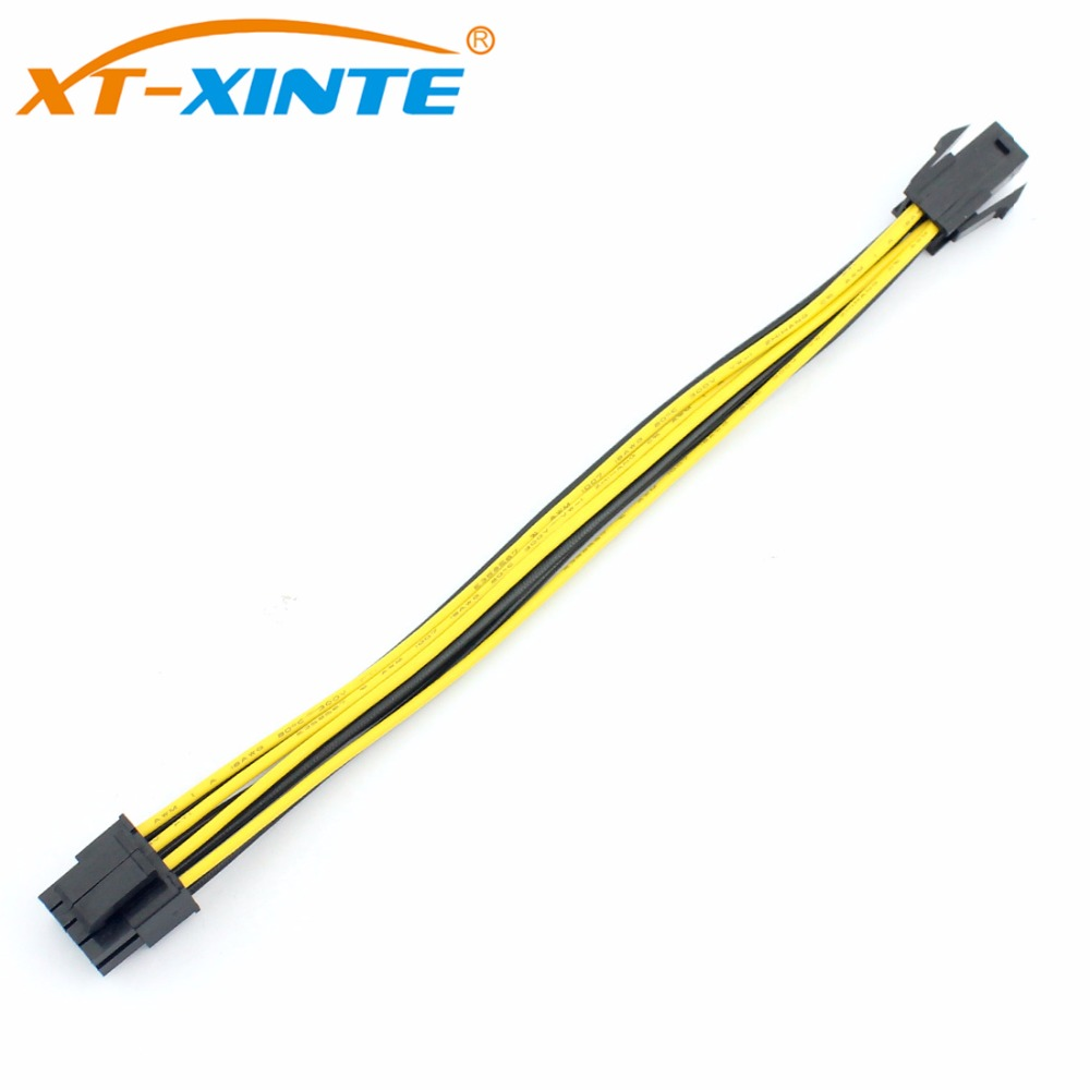 XT-XINTE 4Pin To 8Pin Power Cable Adapter For PC 4P To 8P CPU P4 To P8 Extension Cables Convertor Wire Cord 20cm For Mining BTC