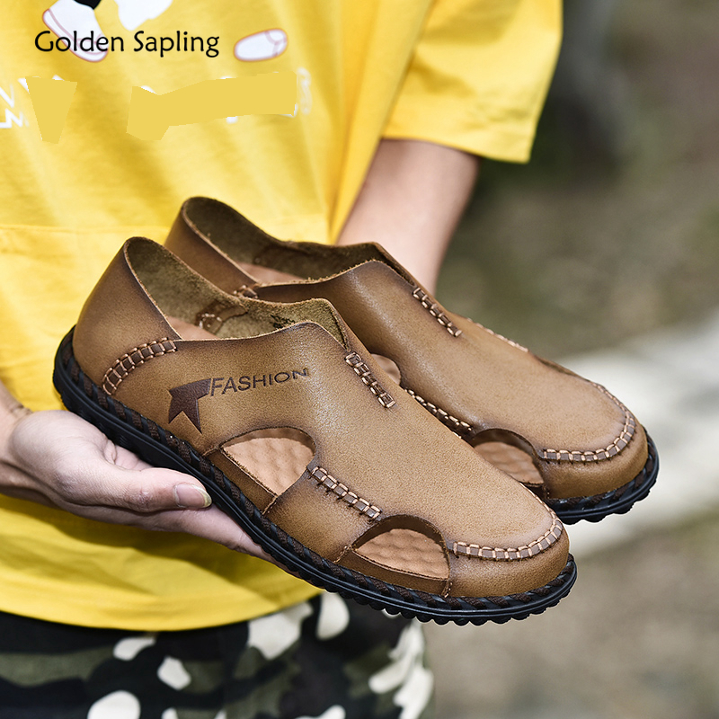 Golden Sapling Slip-on Outdoor Shoes Men Breathable Genuine Leather Summer Men's Sneakers Mountain Hiking Shoes Trekking Sneaker