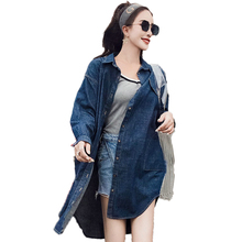 купить Women Oversized Denim Shirts Blue Jean Tops Woman Boy Friend Style Denim Shirt Casual Curved Hem Tee  Blouse Pockets Top Spring онлайн