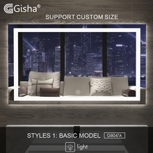Gisha สมาร์ทกระจก LED กระจกห้องน้ำผนังห้องน้ำกระจกห้องน้ำ Anti FOG กระจกหน้าจอสัมผัสบลูทูธ G8047