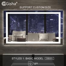 Gisha スマートミラー LED 浴室ミラー壁バスルームの鏡浴室トイレ防曇ミラーとタッチスクリーン Bluetooth G8047