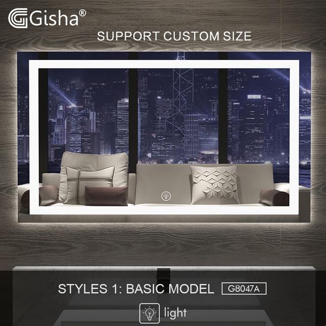 Gisha inteligentne lusterko lusterko łazienkowe z oświetleniem led ścienne lustro łazienkowe toaleta wc Anti fog lustro z ekran dotykowy Bluetooth G8047
