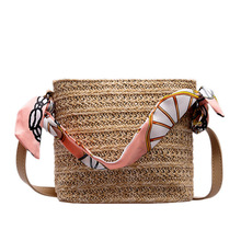 Hand-woven Candy Color Women Straw Bag Ladies Small Shoulder Bags Bohemia Beach Crossbody Messenger Totes