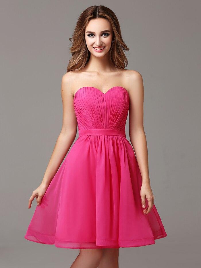 2016 Shocking Pink Chiffon Informal Bridesmaid Dresses Sweetheart ...