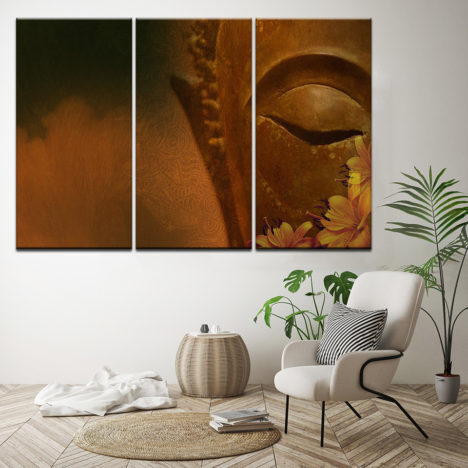 Canvas Painting Buddha eyes and flowers 3 Pieces Wall Art Painting Modular Wallpapers Poster Print for living room Home Decor