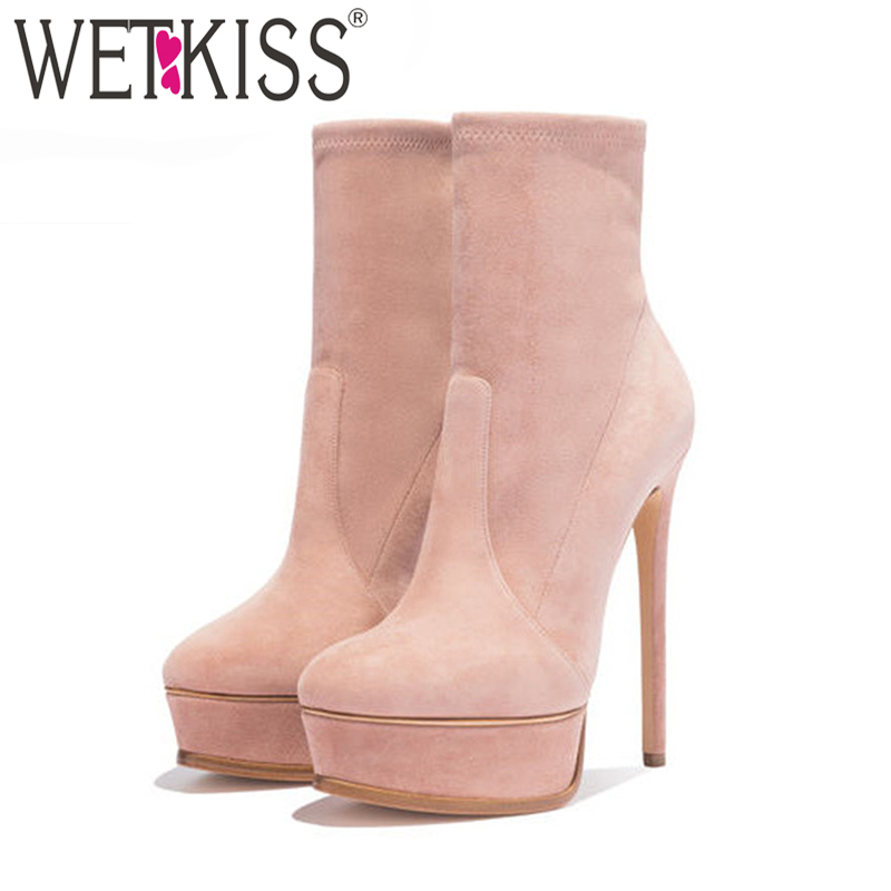 WETKISS Big Size 43 Ankle Women Boots Flock Round Toe Platform Footwear Stiletto Stretch Booties Thin High Heels Female Shoes gdgydh women platform heels ankle boots zipper high heels female booties shoes black round toe ladies shoes big size 2018 autumn