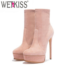 WETKISS Große Größe 43 Knöchel Frauen Stiefel Flock Runde Kappe Plattform Schuhe Stiletto Stretch Booties Thin High Heels Weibliche Schuhe(China)