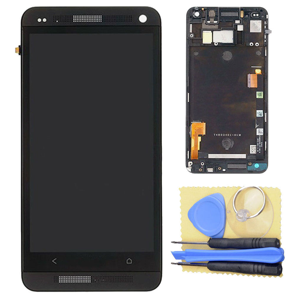 LCD Display Digitizer Touch Screen + Frame+Tools Assembly Black For HTC One M7 801e