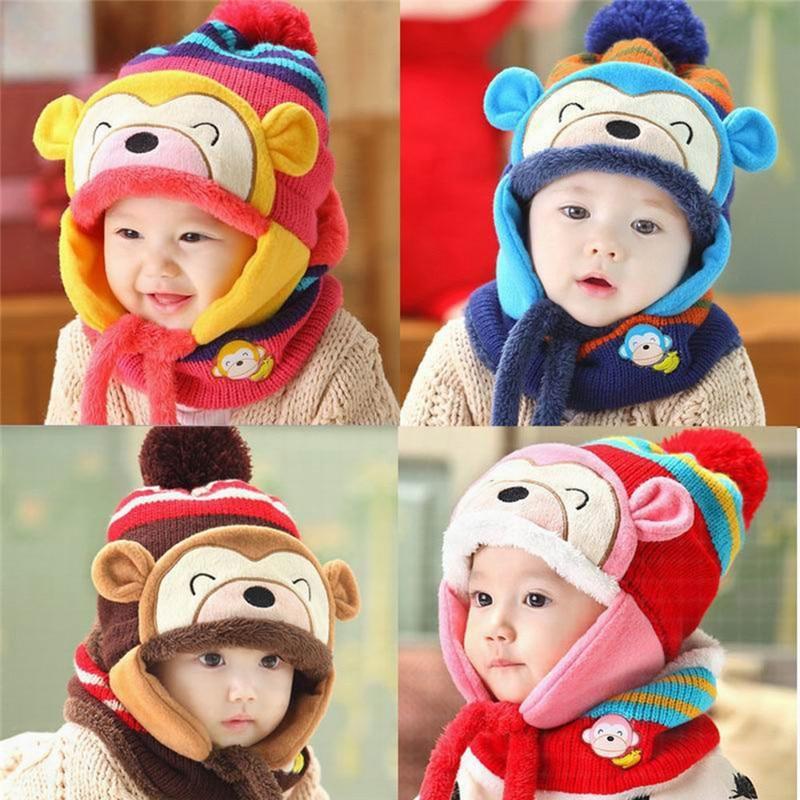 b9e010e791c Winter Children Winter Ear Flap Warm Hat Bebe Hat With Scarf Beanie Cap  Monkey Kids Winter Cap Children Headwear-in Hats   Caps from Mother   Kids  on ...