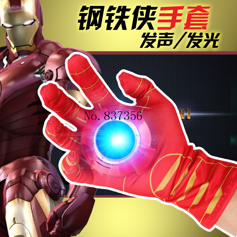 2017 Newest Cartoon The Avengers Figure Iron Man Hulk Spider Man Glove Emitter Sound Flash Cosplay Toys For Children Gifts cartoon the hulk shaped plastic mask green