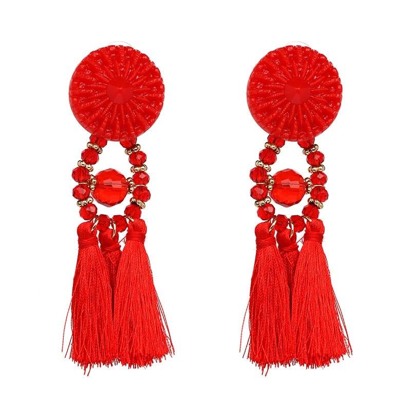 JUJIA 2020 Wanita Etnis Vintage Panjang Menjuntai Fringe Earrings - Perhiasan fashion - Foto 4