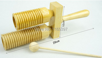 Fine cheap1x children kids natural Wooden TWO tone H L AGOGO beater guiro scraper percussion early musical education instrument