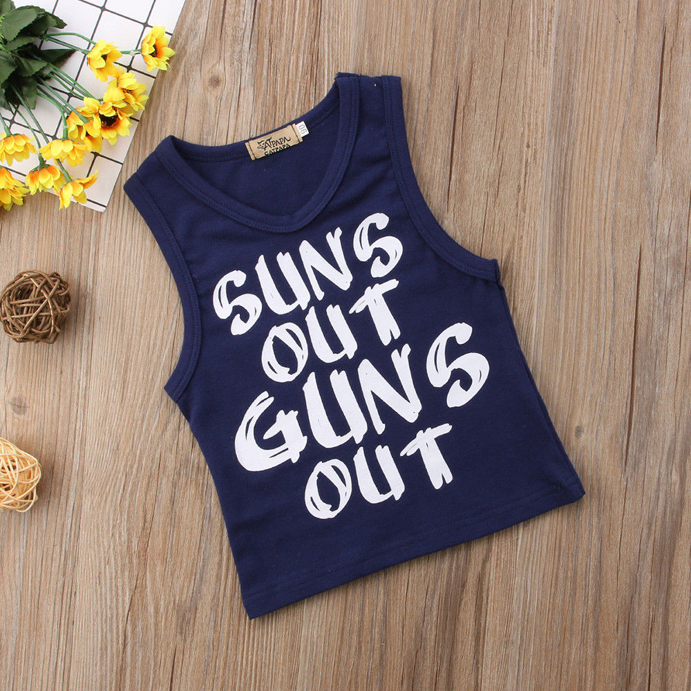 reputable site 1a2d6 3122d Suns Out Guns Out Newborn Baby Boy Girl Casual T-shirt Sleeveless V-neck  Vest Tee Tops Clothes 0-24M ~ Top Deal July 2019