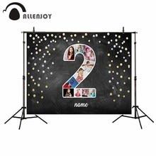 Allenjoy خلفية التصوير الذهبي المرقط الأسود صور جدار حفلة عيد ميلاد الطفل مخصص الخيال خلفية صور الدعائم