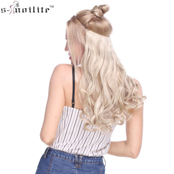 SNOILITE 20 inches Long Synthetic Hair Heat Resistant Hairpiece Fish Line Wavy Hair Extensions Secret Invisible Hairpieces 1