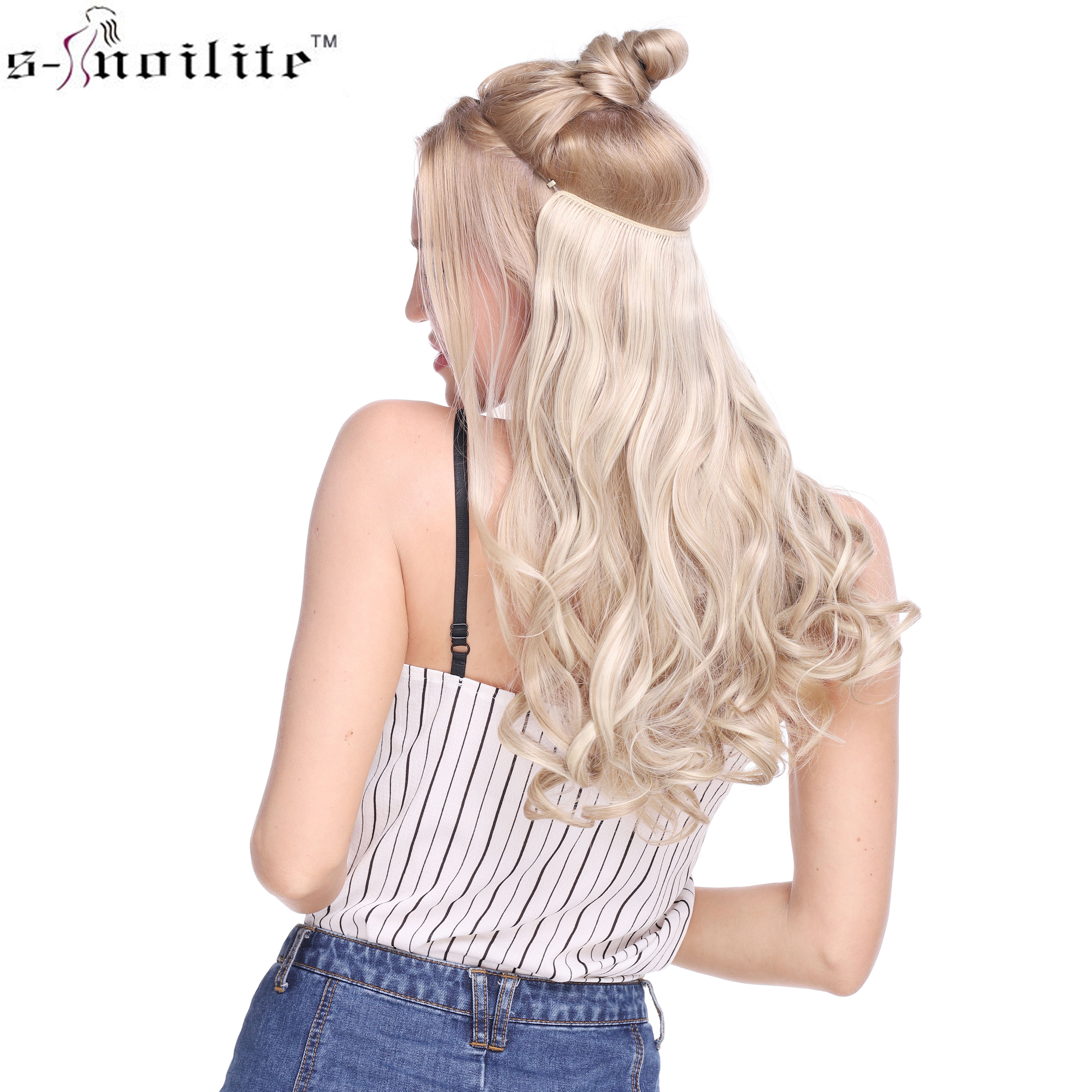 SNOILITE 20 inches Long Synthetic Hair Heat Resistant Hairpiece Fish Line Wavy Hair Extensions Secret Invisible Hairpieces(China)