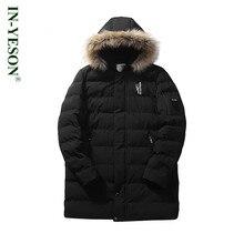 New Fur Collar Winter Jacket Men Brand IN-YESON Thick Windproof Medium Long Men's Parka Overcoat Cotton Padded Hooded Jacket