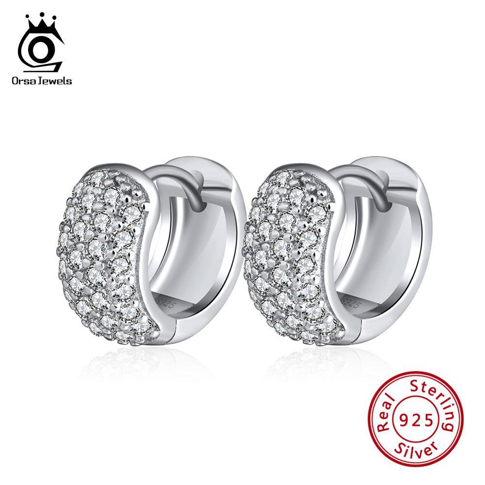 ORSA JEWELS Vintage 925 Sterling Silver Earrings For Women With Zircon Round 11mm Hoop Earrings Silver Jewelry 2019 Gift OSE101 in Earrings from Jewelry Accessories