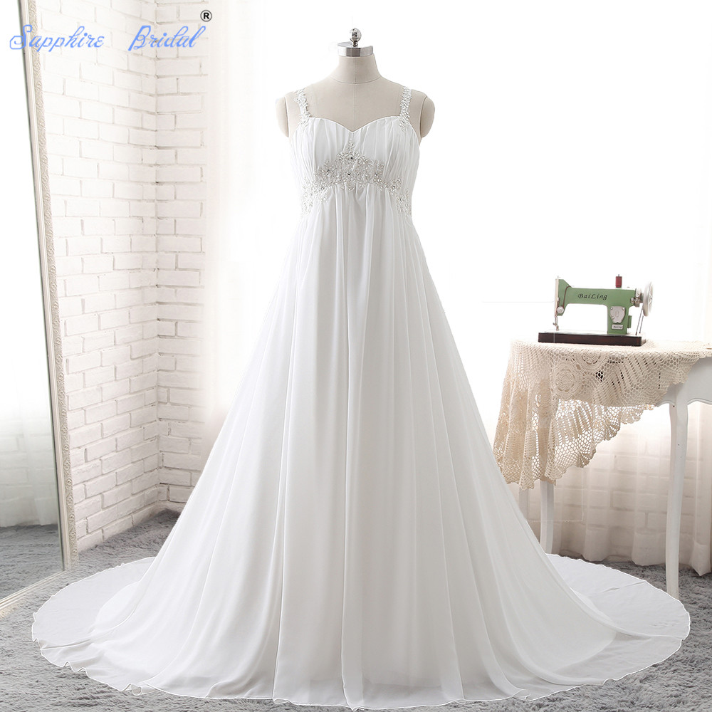 Sapphire Bridal Plus Size Wedding Dress Vestido De Noiva Sweetheart 2018 Long Chiffon Lace Appliques Beaded Wedding Dress Hot