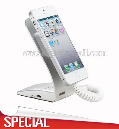 Cell phone security display stand iphone alarm support metal anti theft  holder with charging function for retail shop show wholesale price mobile phone anti theft alarm display stand with charging for exhibition