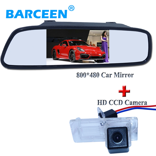 """Резервного копирования камера автомобиля hd ccd датчик изображения + 4.3 """"автомобиль зеркало заднего вида для Renault Fluence/Dacia Duster/Megane 3/для Nissan Terrano"""