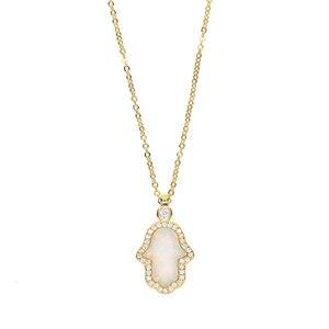 Мода 2017, Турецкая Хамса, ручная подвеска, ожерелья для женщин, женское нежное изящное золотое, серебряное, белое, огненное, Опаловое, каменное ожерелье