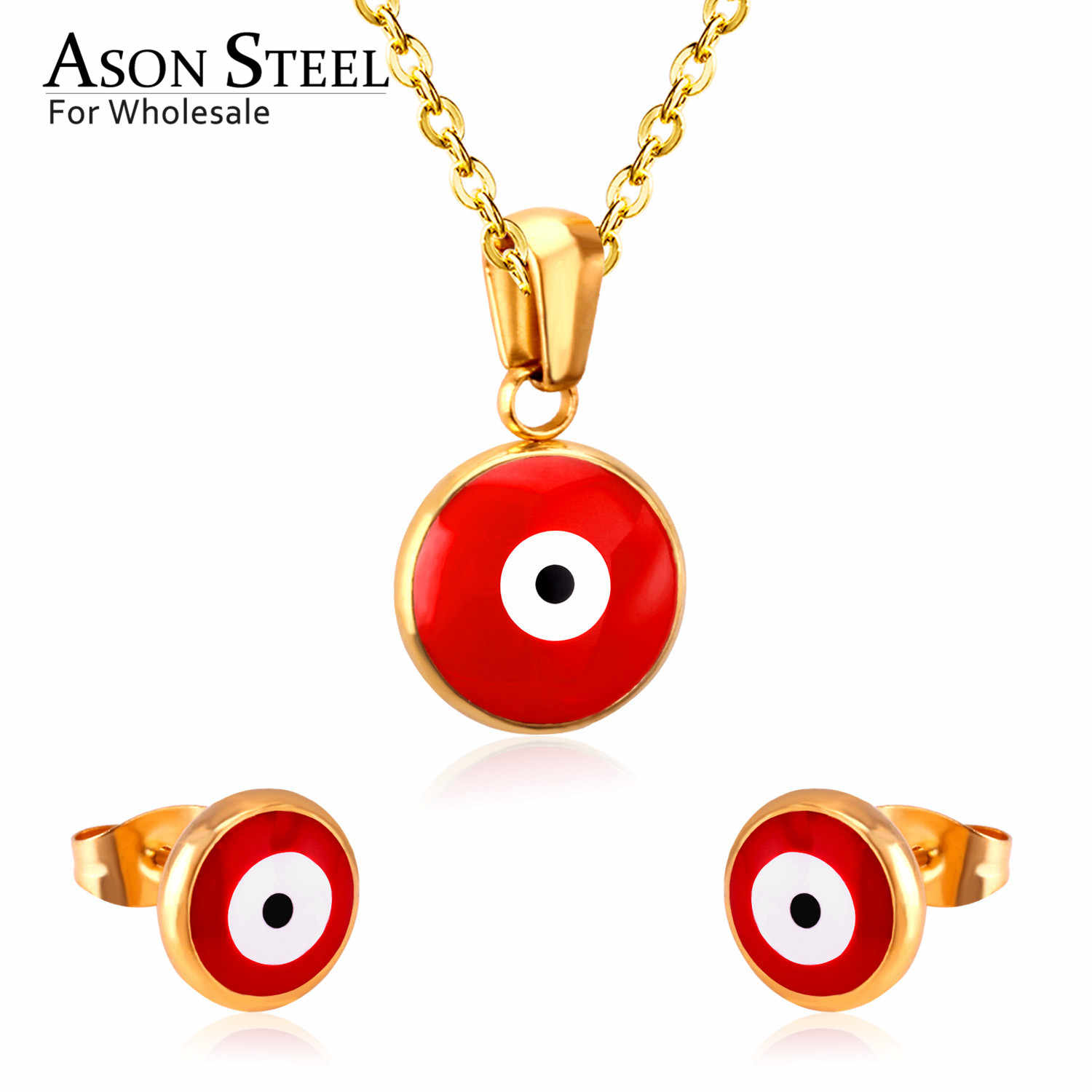 Asonsteel Gold Color Red Cat Eye Wedding Jewelry Set for Women 316L Stainless Steel Necklace Pendants Small Stud Earring