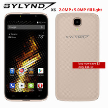cheap celular smartphones BYLYND X6 front camera fill light Android 6.0 MTK6580 Quad Core 5.0″ WCDMA unlocked mobile phones 5mp