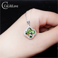 CoLifeLove Fashion Sterling Silver Gemstone Pendant for Girl 4 Pieces Natural Chrome Diopside Pendant 925silver Diopside Jewelry