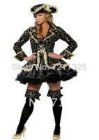 Plus size s-3xl New Mulheres Luxo Pirata Halloween Cosplay Vestido Com Chapéu Eyecover Atacado Reatil Frete Grátis