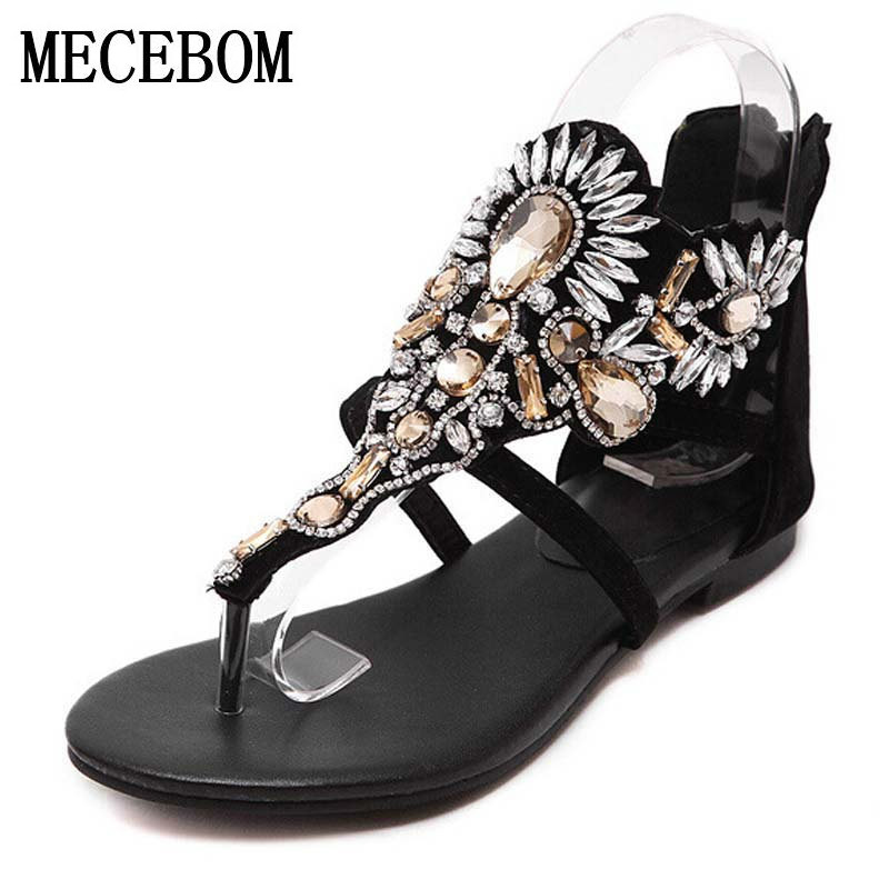 2017 Crystal Gladiator Sandals Summer Flip Flops Casual Shoes Woman Slip On Flats Rhinestone Women Shoes Size 35-40 B833W phyanic 2017 gladiator sandals gold silver shoes woman summer platform wedges glitters creepers casual women shoes phy3323