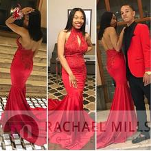 Red Backless Mermaid Prom Dresses 2019 Vestidos De Fiesta De Noche African Black Girl Women Formal Women Evening Gowns 2019 women chiffon prom dresses off shoulder formal party gowns vestidos de fiesta de noche
