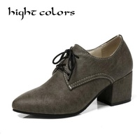 Plus Size 34 45 Retro Casual With Rough Pointed Shoes Lace Up Square High Heel 6cm