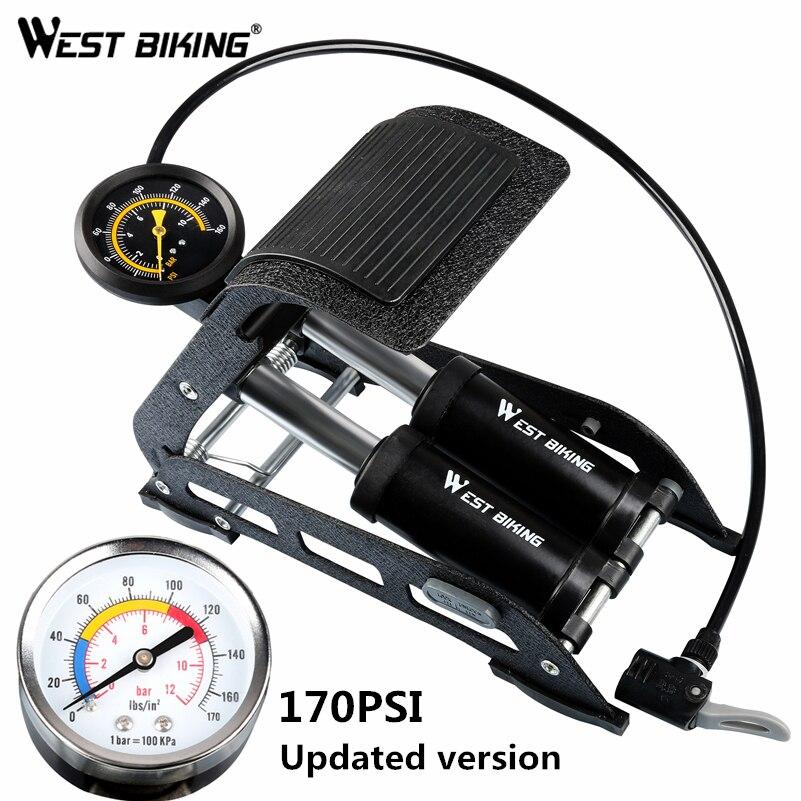 Pompe de plancher de vélo Portable WEST Bike pompes à pied de vélo en Aluminium 170PSI pompe à Air de plancher de vélo pour vélo voiture moto jouet