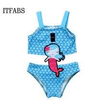 2018 New lovely Kids Baby Girls cartoon Mermaid strappy Swimwear Swimsuit Beachwear One-piece Bikini summer beachwear costume
